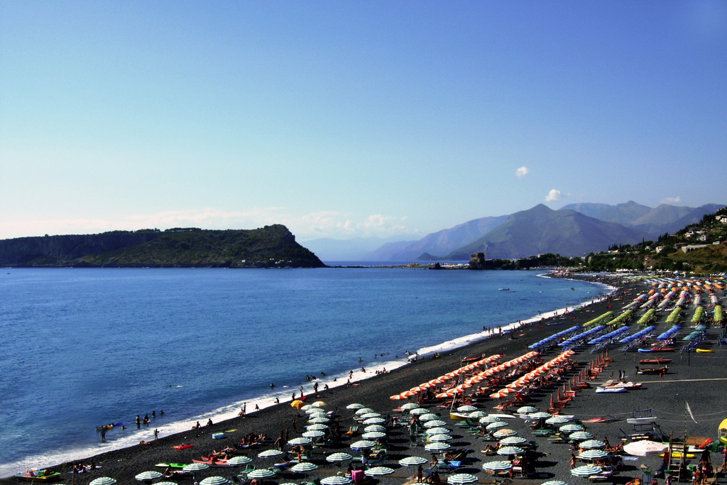 Praia a Mare beach with island of Dino on the left, Calabria, Italy