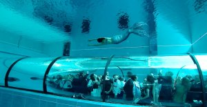 Underwater tunnel in Y-40 The Deep Joy, Deepest pool in the world, Montegrotto Terme, Padova, Italy