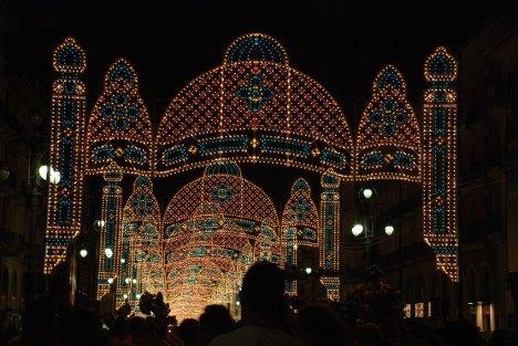 Ferragosto, August 15, lights of Avellino, Campania, Italy