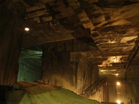 Interior of a marble mine in Carrara, Italy