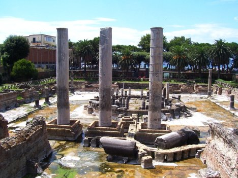 """The """"Serapium"""" or Macellum of Pozzuoli demonstrated the effects of bradyseism, Campania, Italy"""