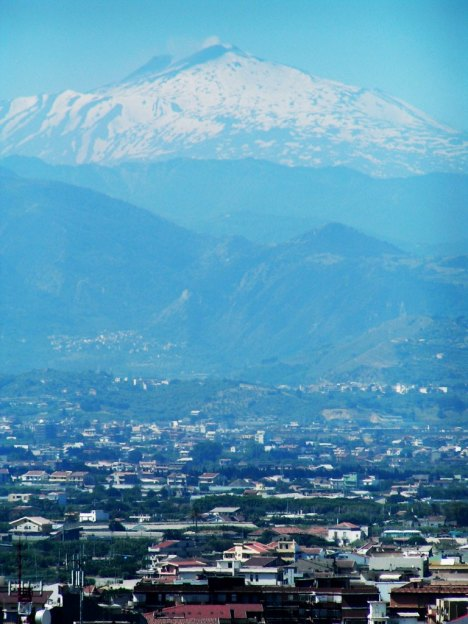 Snowy Mount Etna as seen from Milazzo, Sicily, Italy