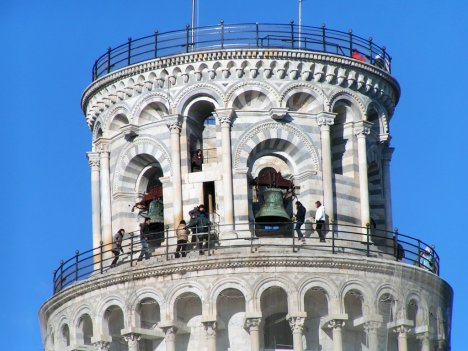 Top of Leaning tower of Pisa with bells, Tuscany, Italy