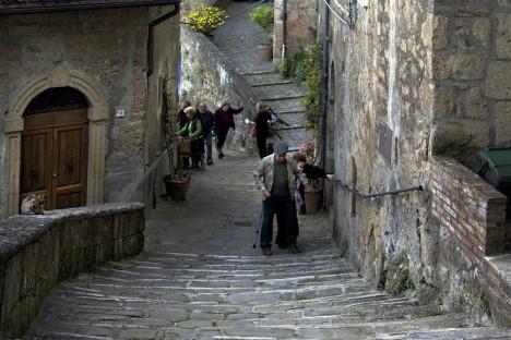 Steep streets of Sorano, Tuscany, Italy