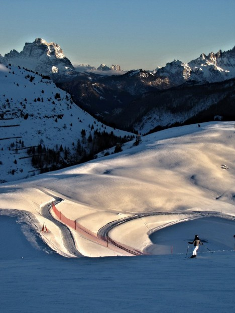 Late afternoon skiing in Alta Badia, Dolomites, Italy