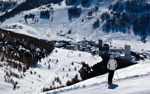 Skiing in Sestriere, Piedmont, Italy