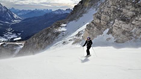 Skiing in Cortina d'Ampezzo, Veneto Dolomites, Italy
