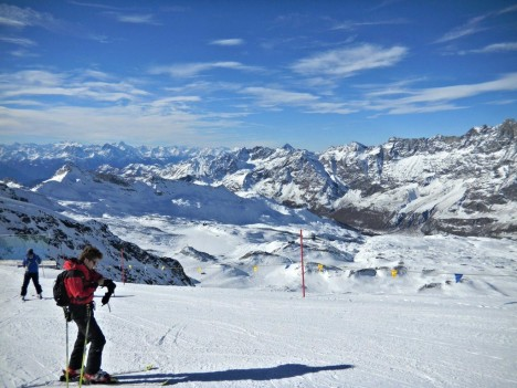 Skiing in Breuil-Cervinia, Valle d'Aosta, Italy