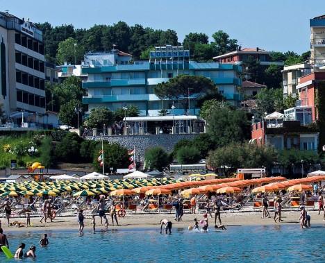 Gabicce Mare. Beach under Giardini Unità d'italia, Marche, Italy