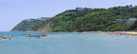 Gabicce Monte and Vallugola as seen from Gabicce Mare, Marche, Italy