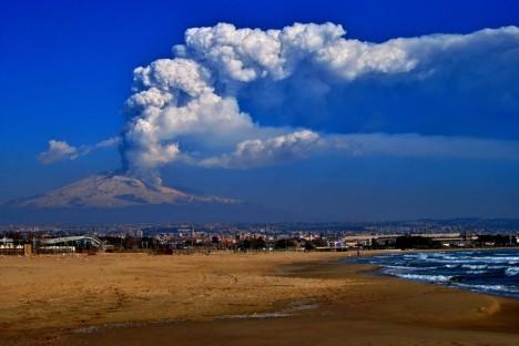Etna volcano from Calabria, Sicily, Italy